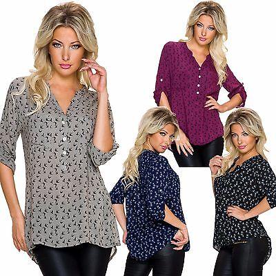 Damen Bluse Hemd Tunika Schwalben Print 34 36 38 Turn up Heley Style sexy Shirt