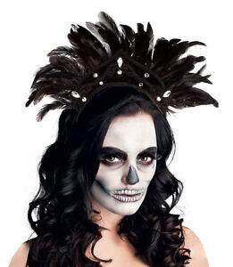 Ladies Black Feather Headdress Victorian Gothic Carnival Burlesque