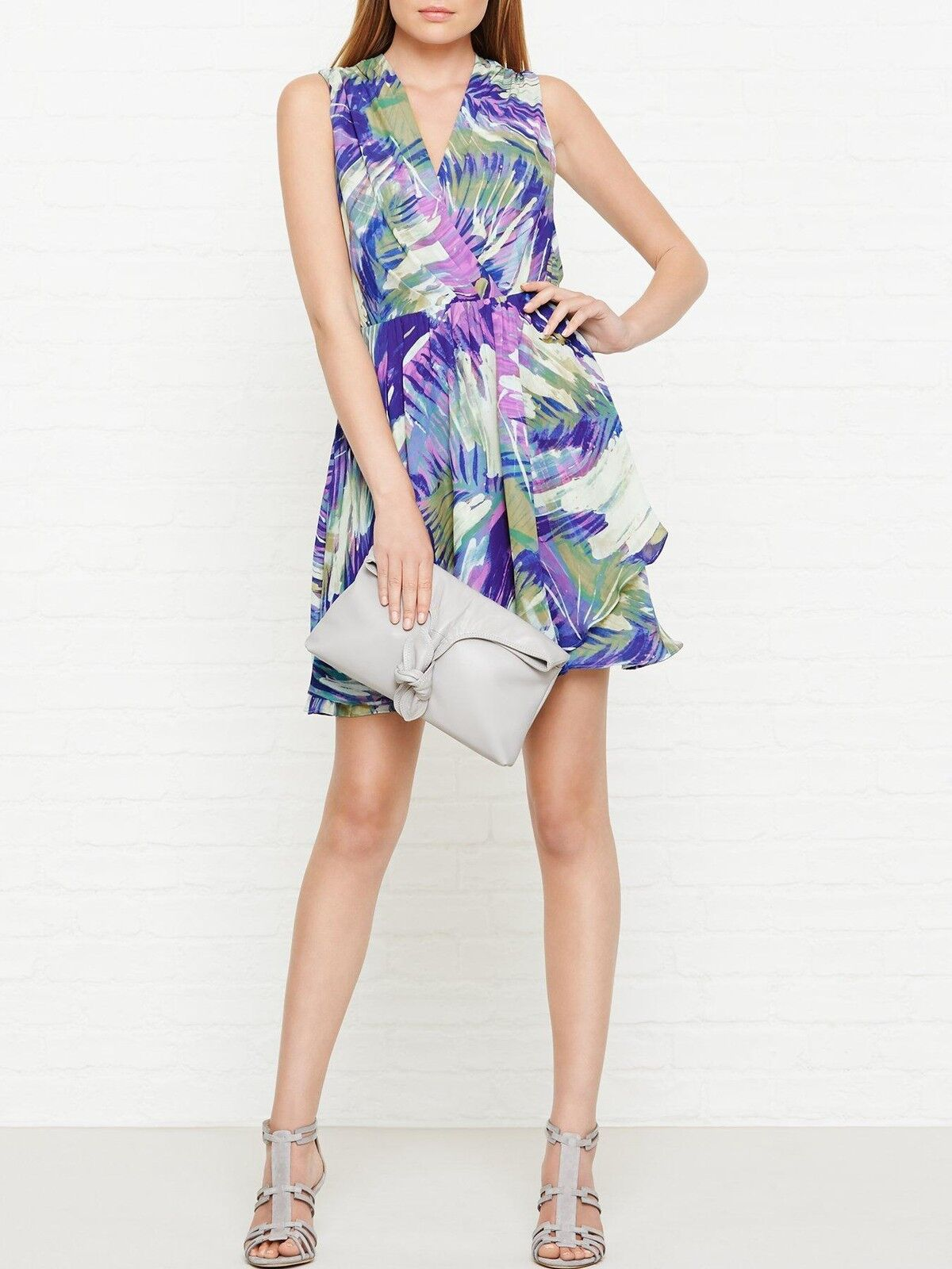 330 NWT Reiss Carmen Purple Draped Floral Palm Print Dress Size US 0  UK4