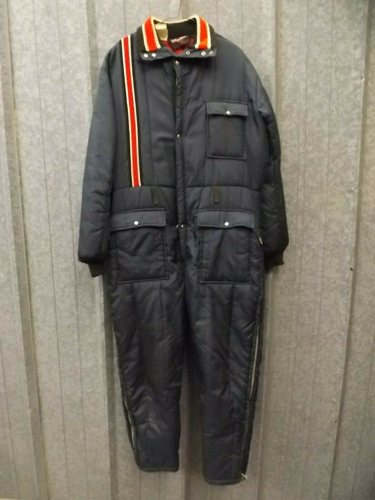 USA Racer Stripe Vtg 1970s One Pc Sporty Snowmobile Snow Suit Mens L Ice Fishing