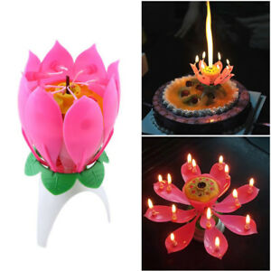 Image Is Loading Lotus Candle Birthday Flower Musical Rotating Floral Cake