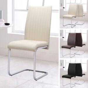 Cantilever-Designer-Faux-Leather-Dining-Chairs-2pcs-Kitchen-Cafe-Chrome-Base-Leg