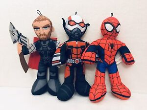 Marvel-Avengers-Super-Hero-Squad-14-Plush-Thor-Spiderman-Antman-Lot-Of-3