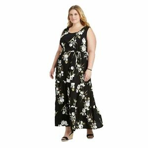 NWT-Ava-amp-Viv-Women-039-s-Plus-Size-Floral-Sleeveless-Tiered-Maxi-Dress-Size-X