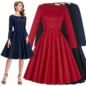 Housewife Long Sleeve 40s 50s Swing Pin Up Dress Tea Ball Gown Picnic Evening