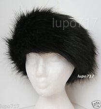 BLACK DOUBLE LAYER FLUFFY FAUX FUR HEADBAND HAT SKI EAR WARMER MUFFS NEW 57-61CM