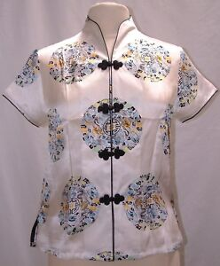 Asian-Inspired-Silk-Medallion-Print-Short-Sleeves-Blouse-S-M-L-NEW