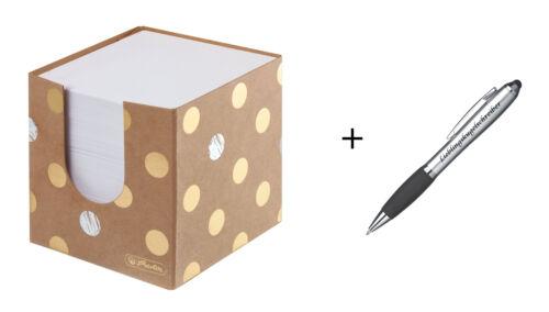 """9x9x9cm /""""Pure Glam/"""" Lieblingskugelschreiber 700 Notizblätter Zettelbox"""