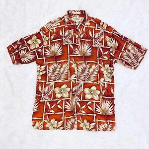 Vintage-Campia-Moda-Herren-Aloha-Hawaii-100-Rayon-Shirt-rot-Blumenmuster-Groesse-Large