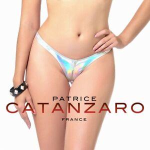 Patrice-Catanzaro-Annabelle-String-sexy-ouvert-en-vinyle-hologramme-argente