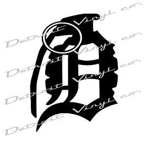 detroit d grenade old english d grenade 6 x6 vinyl sticker decal