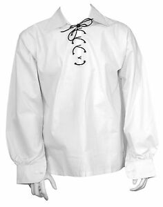 ecossais-blanc-Jacobite-Ghillie-KILT-Chemise-cordon-en-cuir-Tailles-S-M-L-XL