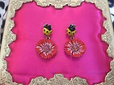 Betsey Johnson Vintage Secret Garden Yellow Ladybug Flower Floral Daisy Earrings