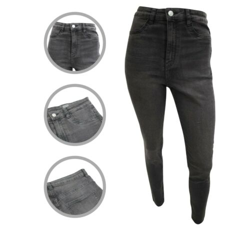 Womens H/&M High Waist Jeggings Super Skinny Jeans Ash Black Size 10 12 14 16 18