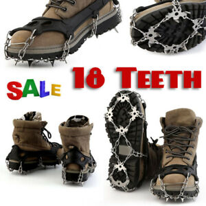 18Teeth-NO-Slip-Ice-Snow-Grip-Climbing-Hiking-For-Boots-Shoes-Cleats-Crampons-US