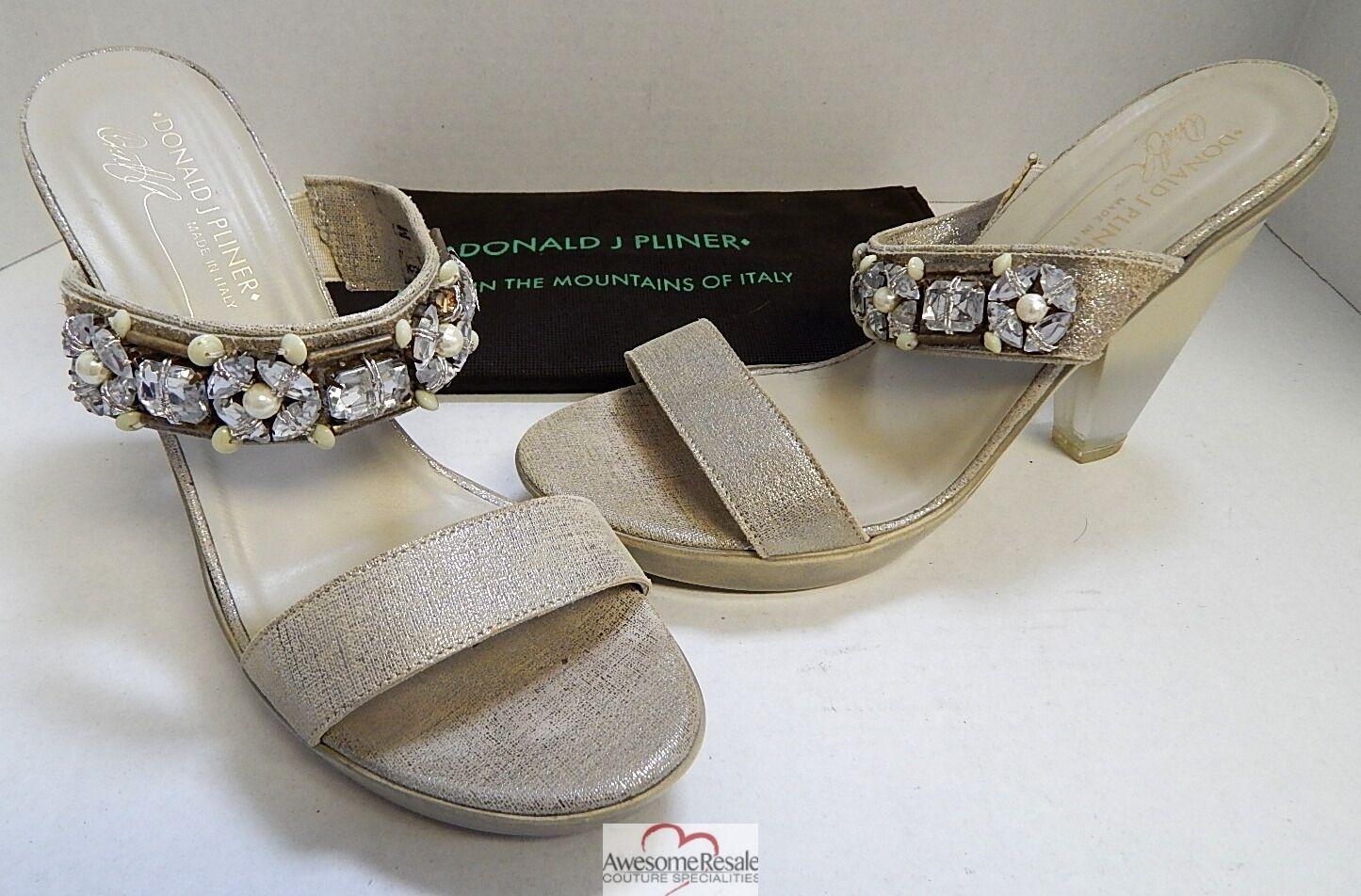 Donald Leder Pliner  Metallic Leder Donald Jeweled Strappy Platform Slide Heel 8 M 3a9726