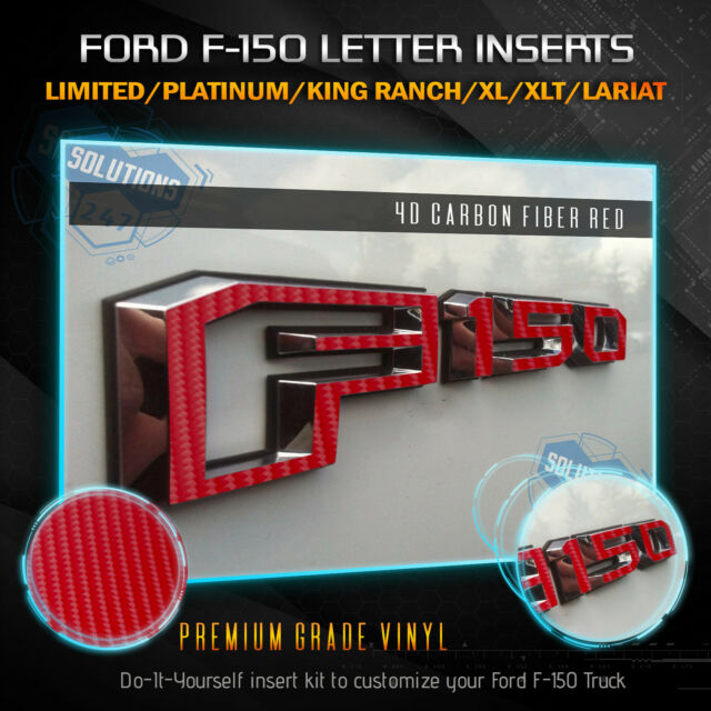 15-18 Ford F150 Side Set Emblem Overlay Decal Sticker 3D Matte Carbon Fiber
