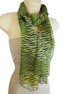 Women Black Green Long Soft Fabric Scarf Wrap Neck Tie Animal Print Zebra Casual