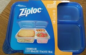 Image Is Loading Ziploc Divided Rectangle Pack Of 2 Containers W