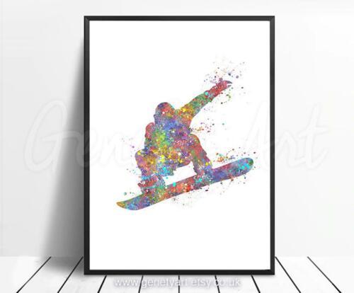 Snowboard Decor Snowboard Fan Wall Art Snowboarding Watercolour Print
