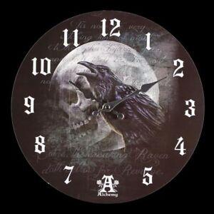 Reloj-de-pared-con-Cuervos-Raven-Curse-CALAVERA-Fantasia-Gotica