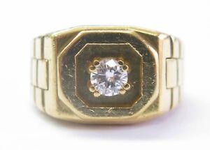 ABL-Men-039-s-18Kt-Round-Cut-Diamond-Solitaire-Yellow-Gold-Square-Ring-39Ct-E-VVS2