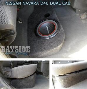 Empty-Nissan-Navara-D40-Dual-Cab-sub-box-10inch-Fibreglass-ported-enclosure