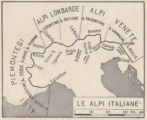 Cartina Europa 1938.C3507 Italia Le Alpi 1938 Mappa Epoca Vintage Map Ebay