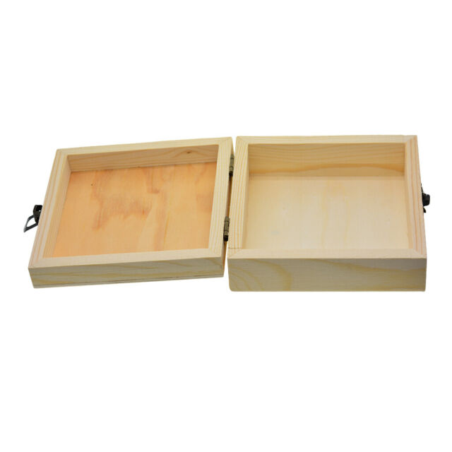 Unfinished Wooden Jewelry Gift Box Pencil Case for Kids DIY Painting Crafts
