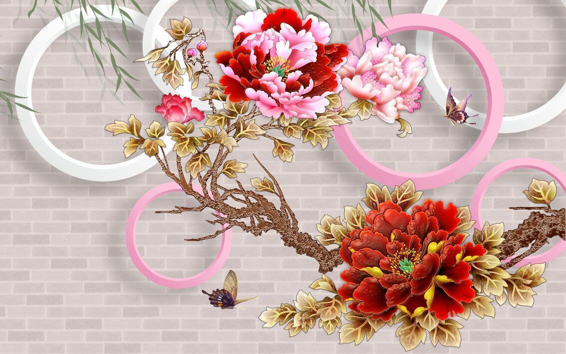 3D Brilliant flower bloom wallpaper Decal Dercor Home Kid Nursery Mural  Home