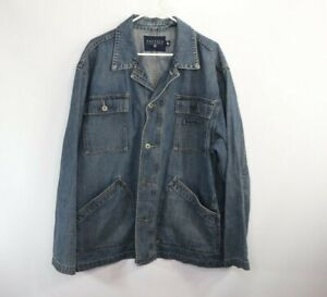 Vintage-90s-Nautica-Mens-XL-Spell-Out-Full-Button-Denim-Jean-Chore-Barn-Jacket