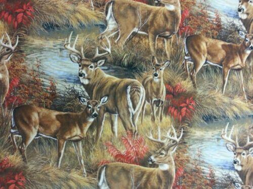 Stag Macho Ciervos Tela 100/% algodón metro de material de regalo animales bosques de costura