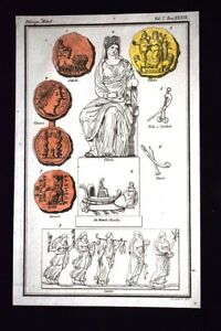 Cibele-Cixico-Cerere-Incisione-colorata-a-mano-del-1820-Mitologia-Pozzoli