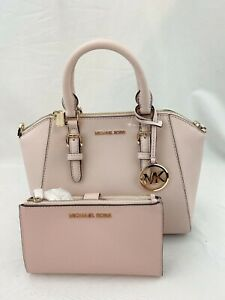 NWT-MICHAEL-KORS-CIARA-MD-SATCHEL-CROSSBODY-BAG-amp-DOUBLE-ZIP-WALLET-POWDER-BLUSH
