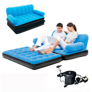 Details About Inflatable Sofa Bed Double Airbed Couch Blow Up Lounger Air Mattress With Pump