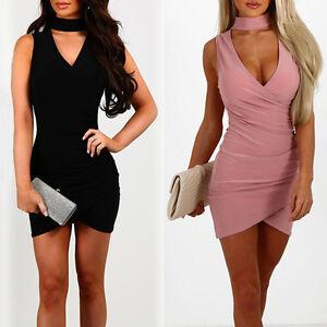 Damen v ausschnitt rmellos bodycon minikleid partykleid sommerkleid s xl ebay - Sommerkleid v ausschnitt ...