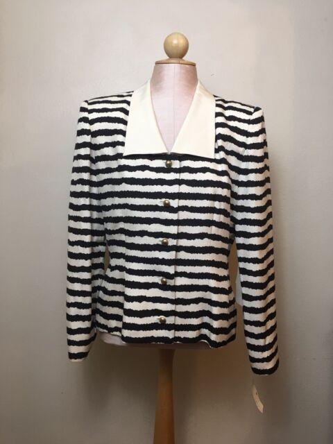 f5a55e20335652 Vintage Saks Fifth Avenue Womens Size 10 Silk Blouse Black Ivory Striped NWT