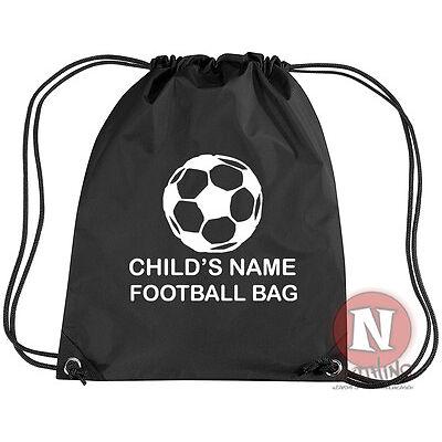 Personalised Football sports kit bag. Drawstring PE school - add child's name