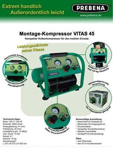 prebena montage kompressor vitas 45 lfrei 10kg mit 4 liter kessel 10 bar ebay. Black Bedroom Furniture Sets. Home Design Ideas