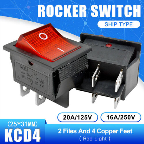 5PCS KCD4 2Position 4PIN Red Terminals Rocker Boat Switch DPST ON//OFF 16A 250V