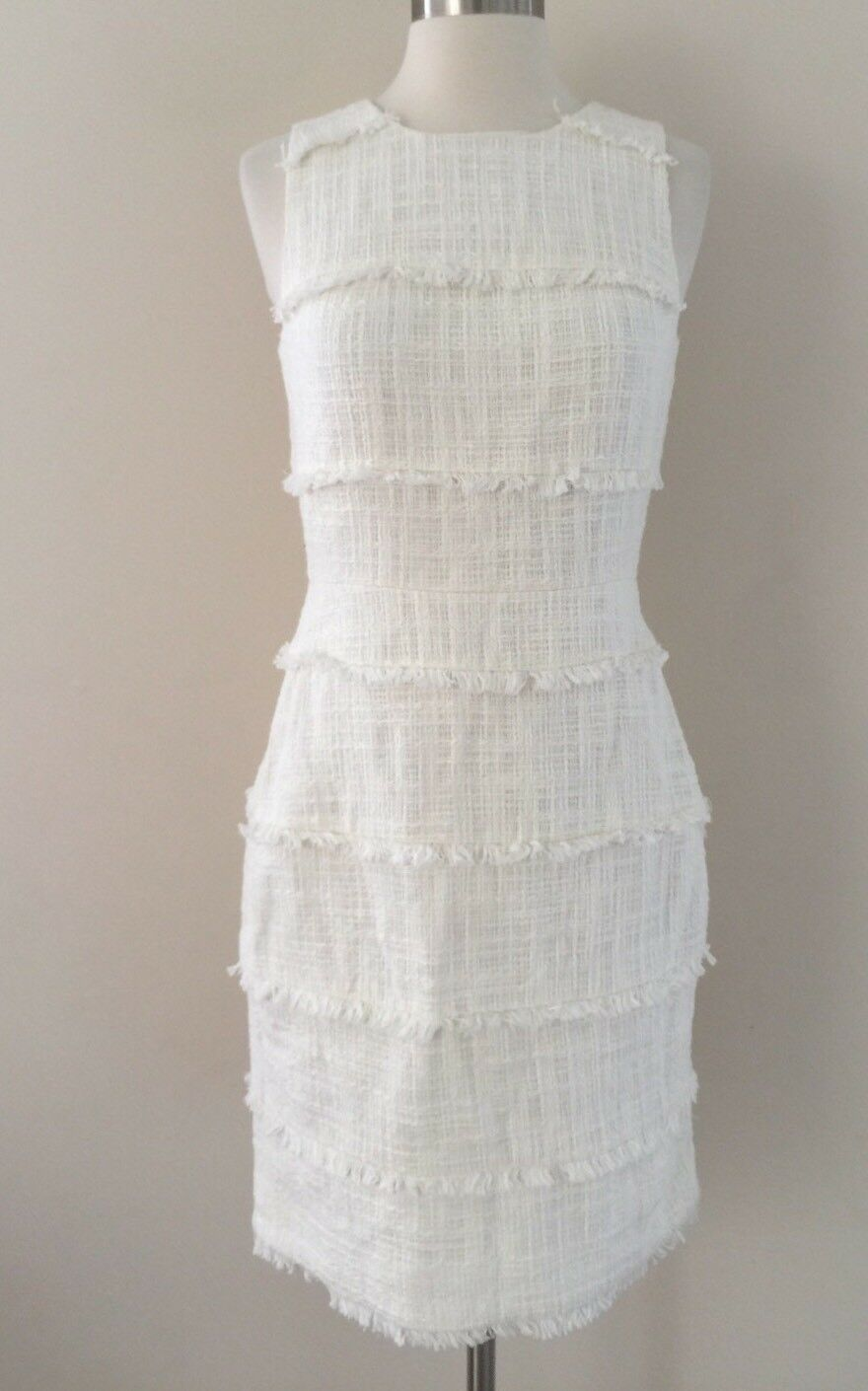 New JCREW Fringy tweed sheath dress Marine Salt Ivory G0965  148 Spring 2017 2