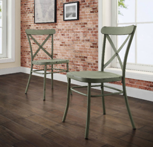Distressed Metal Dining Chairs Set Of 2 Modern Farmhouse Country Kitchen Green 762792575813 Ebay