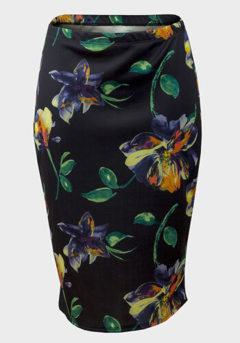 SIZE 6 8  *NEW EX ATMOSPHERE BLACK FLORAL SMART BODYCON PENCIL SKIRT