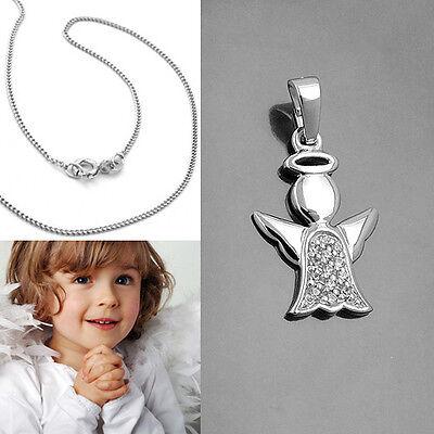 moderner Schutz Engel Anhänger mit Heiligenschein und Kette Echt Silber 925 Neu