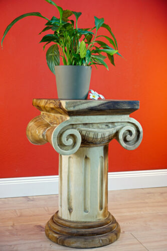 Solid wood column planters table phone plant support stand