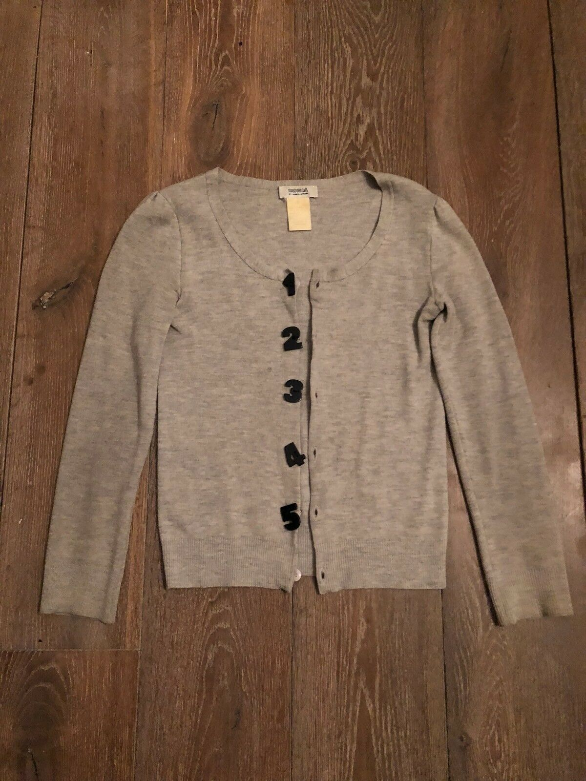 Sonia Rykiel Rare Collectible Grey Cardigan Top Statement Number Buttons 2 XS 8