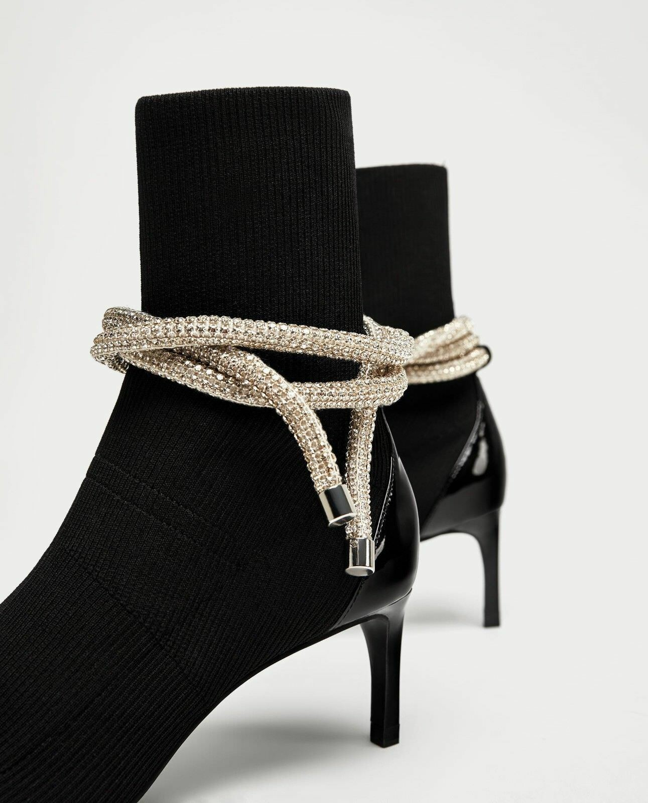 ZARA NEW AW17 HIGH HEEL HEEL HEEL ANKLE BOOTS WITH OPENING AND CORD REF.7105 201 e24647