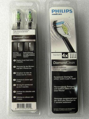 Sonicare DiamondClean Original Philips Toothbrush Heads HX6064//33 BLACK 4 UNITS