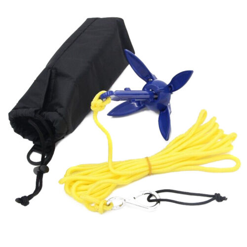Foldable Aluminum Anchor Kit with Rope for Canoe Kayak Small Boat Accessories UK