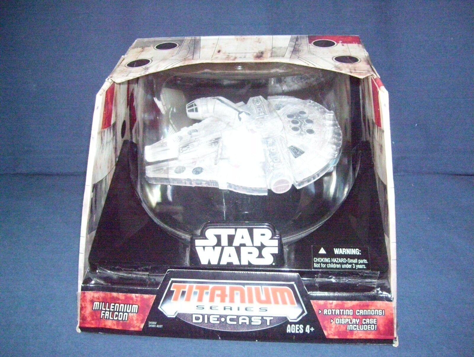 marca de lujo Estrella Wars Titanium Series Series Series Large DIE-CAST Millennium Falcon 2006 Hasbro Nuevo En Caja  calidad auténtica